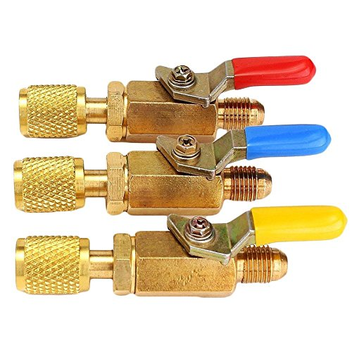 RUNGAO R410A R134a Shut Ball Valves For A/C Charging Hoses HVAC 1/4'' AC Refrigerant (1/4' Straight Air Valve)