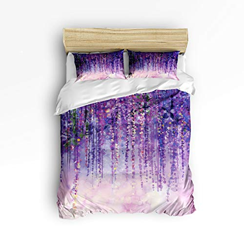3 Piece Polyester Fabric Bedding Set with Zipper Closure Queen Size, Purple Abstract Oil Painting Comforter Cover Set Duvet Cover with 2 Pillow Shams for Girls/Boys/Kids/Children/Teen/Adults