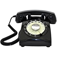 Glodeals 1960s Style Black Vintage Old Fashioned Rotary Dial Home Telephone