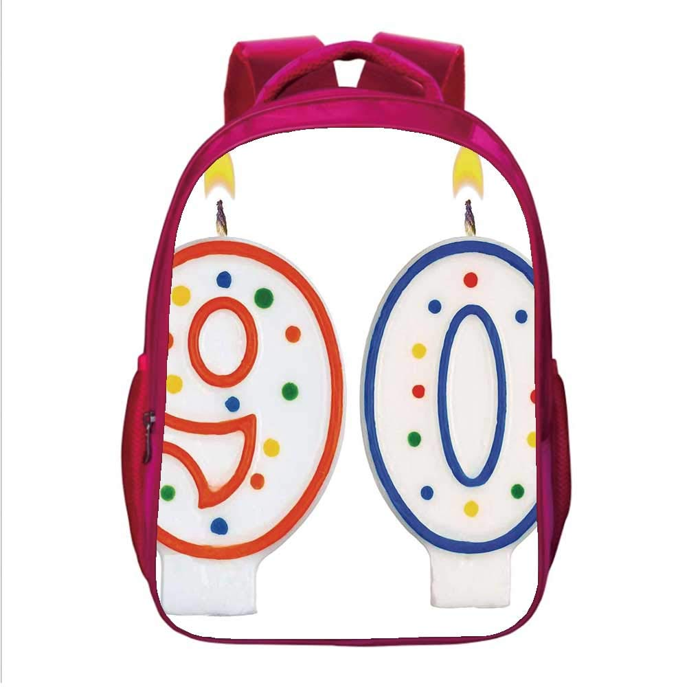 90th Birthday Decorations Multifunctional School Bag,Party Preparations Candles Number Ninety in Red and Blue for School Travel,One_Size