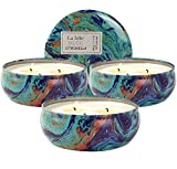LA JOLIE MUSE Citronella Candles Pack 3, Outdoor and Indoor, Natural Soy Wax Travel Tin Scented Candle, 12 oz 75 Hours Burn Each