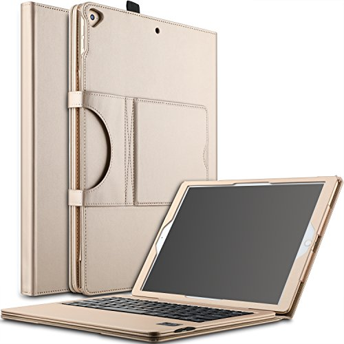 IVSO Apple New iPad Pro 12.9 2017 Case With Keyboard Ultra-Thin DETACHABLE Bluetooth Keyboard Stand Case Cover for Apple New iPad Pro 12.9 2015 and 2017 Version Tablet (Gold)