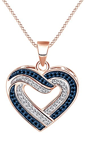 Jewel Zone US 1 3 Ct Blue Natural Diamond Heart Pendant Necklace in 14K Gold Over Sterling Silver