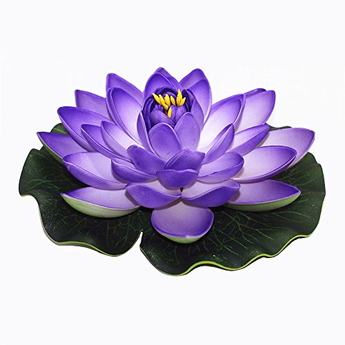 Pond Float - ZHU YU CHUN Large Artificial Floating Lotus Flowers, Home Garden Pond Aquarium Wedding Decor, Purple (Pack of 4)