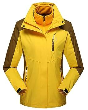 QitunC Mujer Hombre Al Aire Libre Esquí Montaña Chaqueta 3 en 1 Impermeable Abrigos Forro Interior Desmontable Windbreaker: Amazon.es: Deportes y aire libre