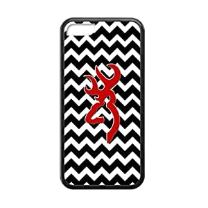 JDSitem Black And White Chevron Red Color Browning Cutter Case Cover Sleeve Protector for Phone iPhone 5C TPU (Laser Technology) by mcsharks