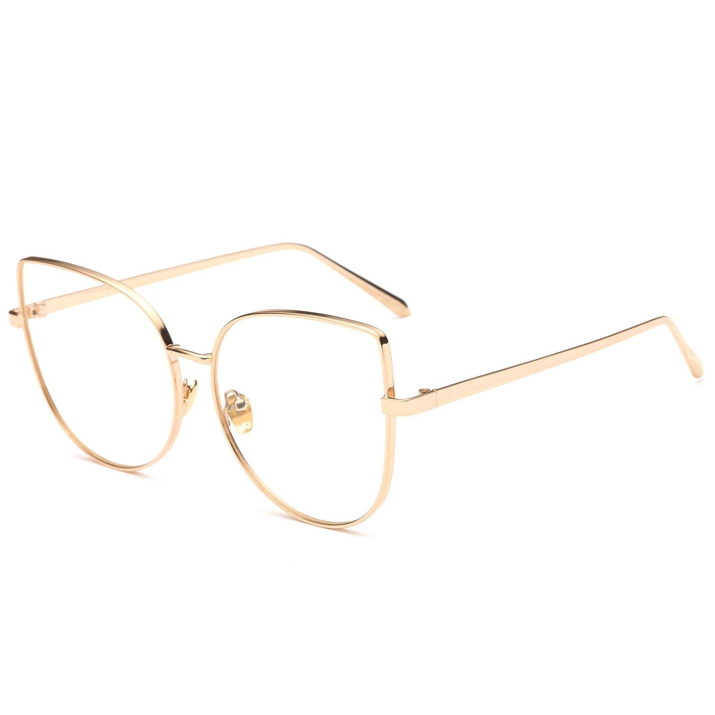 Pro Acme Oversized Cat Eye Gold Clear Lens Glasses Frame Vintage Eyeglasses Women (Gold Frame/Clear Lens)