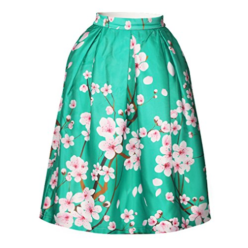 Pretty321 Women Girl 3D Green Flower Zipper Flared Pleated Midi Knee High Skirt Amazon