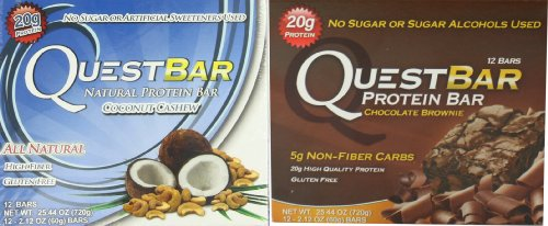 Quest Bar Chocolate Coconut Lovers Bundle Chocolate Brownie and Coconut Cashew