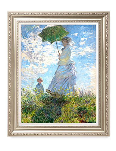 Framed 1877 Canvas (DECORARTS The Walk, Woman with a Parasol (1875), Claude Monet Art Reproduction. Giclee Print& Museum Quality Framed Art for Wall Decor.)
