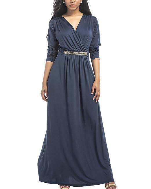 Mujer Plus Tamaño Maxi Mangas Largas Vestido Oficina Vestido casual Noche Fiesta Wear Azul oscuro 2XL