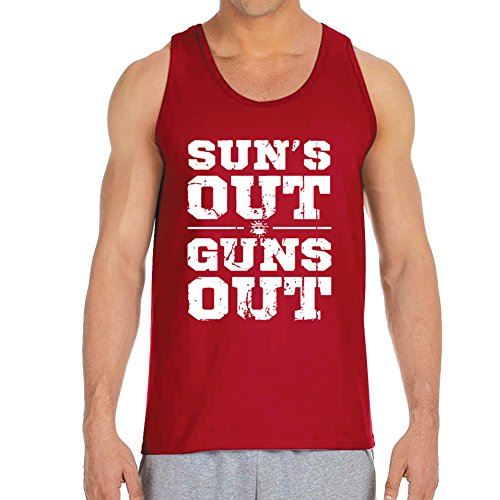 Men's Sun's Out Guns Out Red Tank Top