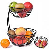Newdora 2 Tier Scroll Fruit Basket Stand, Tiered Server, Fruit Storage, Fruit Baskets, Display Basket, Countertop Organizer, Black