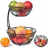 Newdora 2 Tier Scroll Fruit Basket Stand, Tiered Server, Fruit Storage, Fruit Baskets, Display Basket, Countertop Organizer, Black