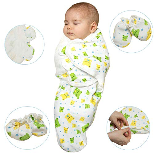 Exclusive Baby Wrap Set by Baby Mood World| Adjustable Swaddle Blanket + Booties and Mittens | 100% COTTON| Great Gift