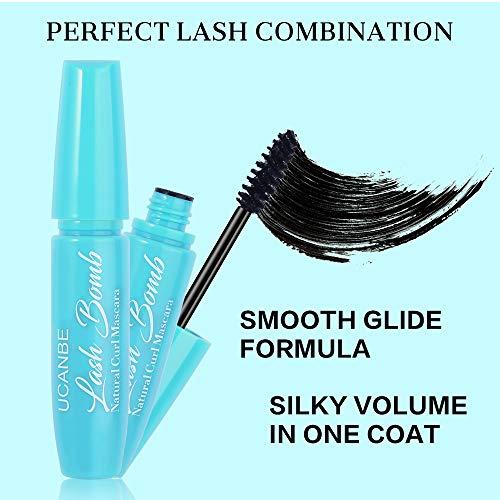 UCANBE Black 4D Plus Perfect Lash Combination Thick Lengthening Natural Fiber Mascara Gift Set Makeup Flyer Extension Volume Curling Eyelashes 3 Pcs Make Up Kit Waterproof Long Lasting