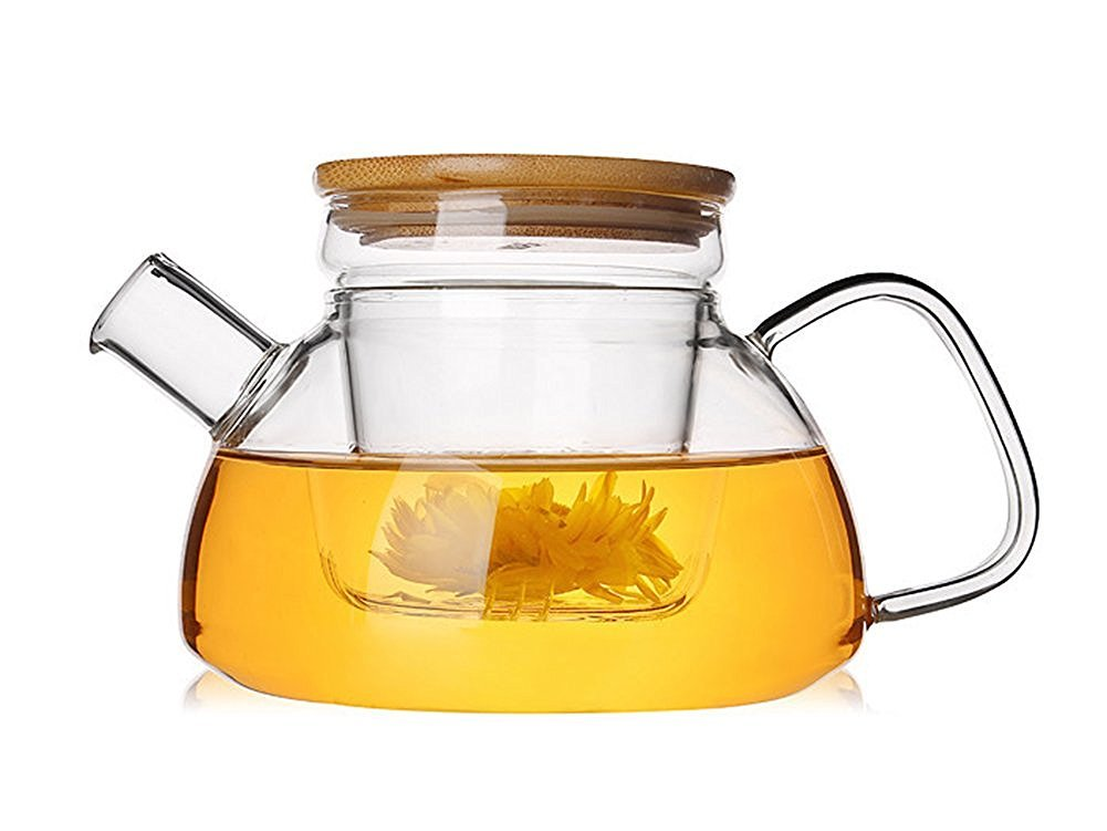 Siyaglass 22oz Glass Tea Pots with Removable Infuser Heat-resistant Borosilicate Glass Teapot with Bamboo Lid