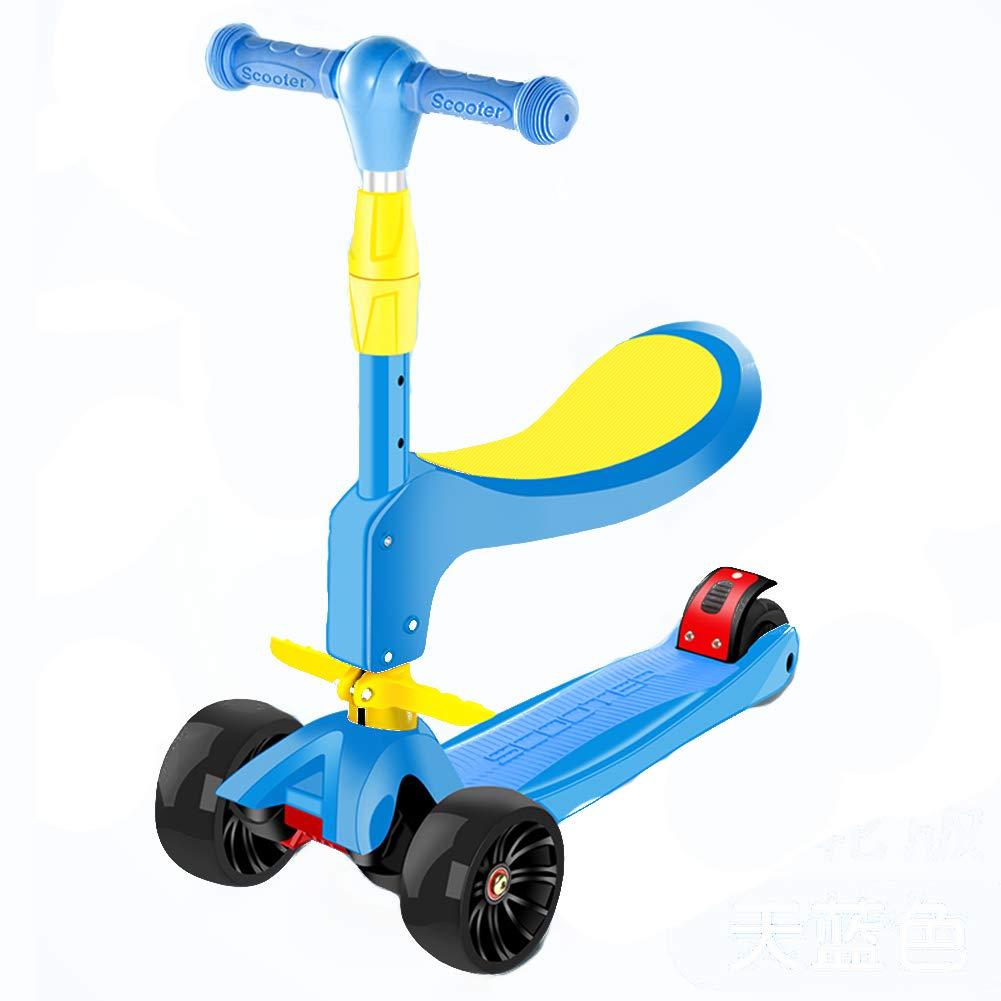 【お気にいる】 キックスクーター三輪車スケートボードペダル式乗用スタントスクーター折りたたみ B07H8Y13ZN Tバーハンドル座席付き調節可能なLEDライトアップホイール付き B07H8Y13ZN 青, セレクトショップMOMO:fbeef268 --- a0267596.xsph.ru