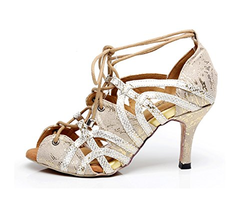 Peep Shoes Toe Salsa MINITOO Sandals 6 Ladies Latin Synthetic Gold Sole Party UK Dancing Soft Rubber 8pTBPnWBIq