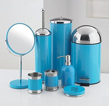 8 piece bathroom accessories set blue amazon co uk kitchen home rh amazon co uk Navy Blue Bathroom Ideas Teal Blue Bathroom