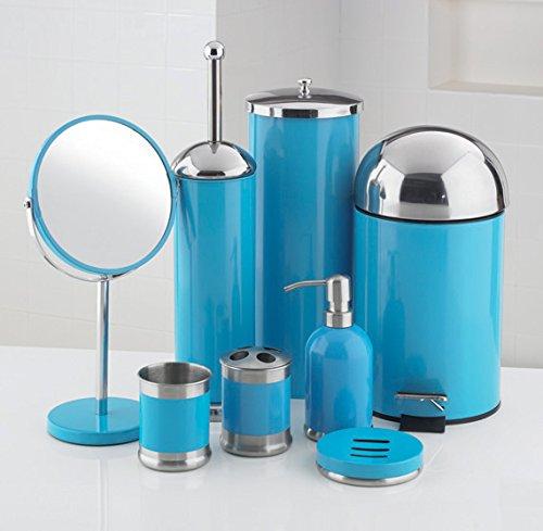 8 piece bathroom accessories set blue