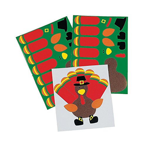 (Fun Express Make-A-Turkey Stickers | 3-Pack (36 Count) | Great for Harvest, Thanksgiving, and Fall-Themed Party Favors | Children Age 3+)
