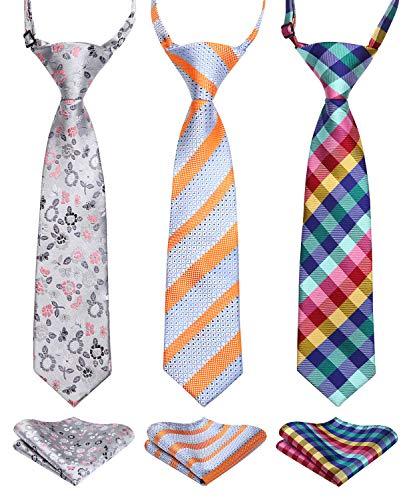 Enlision 3pcs Boys Pre-Tied Neckties & Pocket Square Set Neck Strap Tie for Kids Orange/Gray/Blue