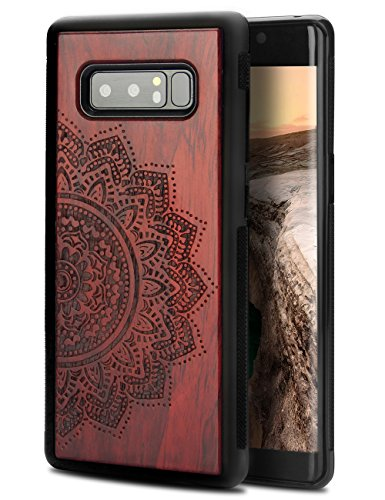Note 8 Case Wood, Unique Handmade Wood Engraving Floral Pattern Heavy Duty Protection Drop Proof Anti-Slip Slim Fit Cover for Samsung Galaxy Note 8