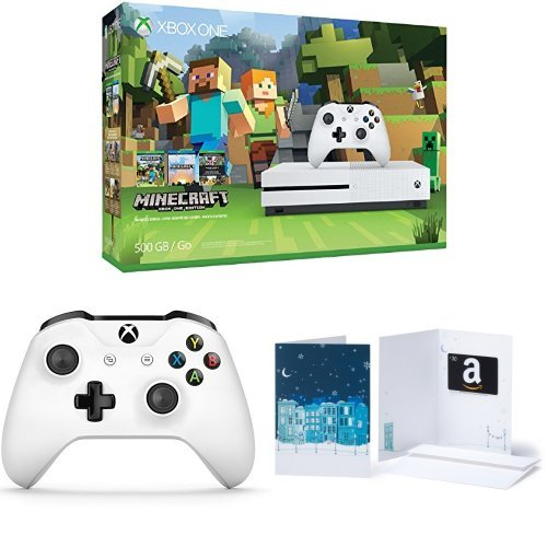 Xbox One S 500GB Console – Minecraft + Extra Controller + $30 Amazon Gift Card Bundle
