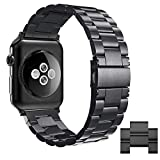 Simpeak Compatible for iWatch Band 42 44 mm, Stainless Steel Band Strap for iWatch Series 4 3 2 1 - Black