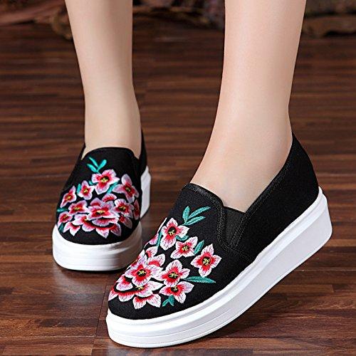 KHSKX-El Viejo Beijing Folk Bordado Al Estilo Zapatos Zapatos Del Deporte Zapatos De Mujer Bordada Paraguayo black