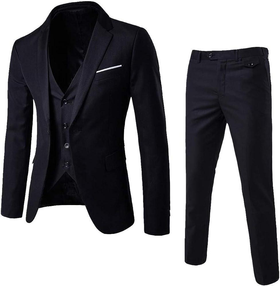 riou Vestido Elegante Elegante de la Oficina del Smoking de un botón de la Chaqueta del Banquete de Boda de los Hombres, Pantalones de la Chaqueta del Chaleco de 3 Pedazos