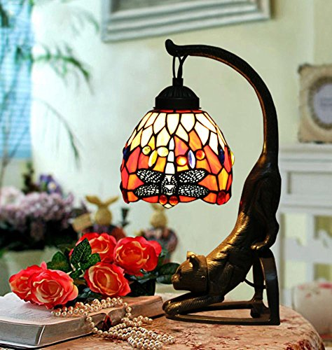 DW&HX Tiffany-style table lamp Living room bedroom bedside lamp Vintage decorative cat table lamp Stained glass - Cat Tiffany Black