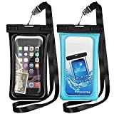 Floating Waterproof Cases,Vocalol 2 Pack Waterproof Phone Case IPX8 Waterproof Phone Pouch Available TPU Clear Dry Bag for All Smartphone up to 6.5″ (Black-Blue)