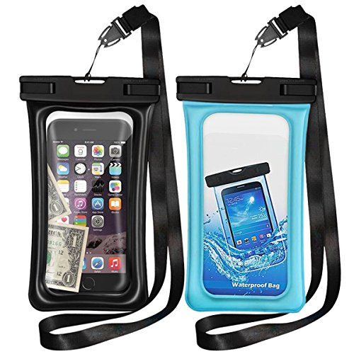 Floating Waterproof Cases,Vocalol 2 Pack Waterproof Phone Case IPX8 Waterproof Phone Pouch Available TPU Clear Dry Bag All Smartphone up to 6.0'' (Black-Blue) by Vocalol