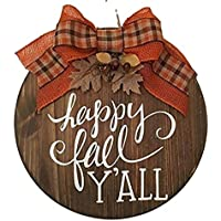 Happy Fall Y'all - Wooden - Fall Autumn Door Sign Wreath - Housewarming Gift