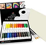Acrylic Paint Set - by AEM Hi Arts - 24 Tube Art Kit Includes Colorful Acrylic Paints, Brushes, Canvas, and Palette - Portable, Small and Washable, Great for Kids and Professional Artists