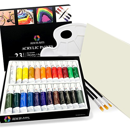 Acrylic Paint Set - by AEM Hi Arts - 24 Tube Art Kit Includes Colorful Acrylic Paints, Brushes, Canvas, and Palette - Portable, Small and Washable, Great for Kids and Professional Artists by AEM Hi Arts