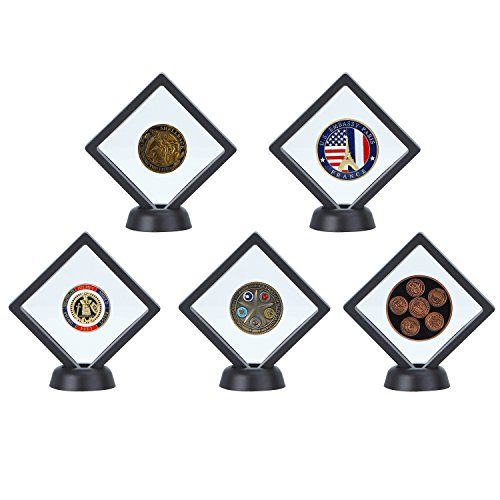 "5-pack Challenge Coin 3D Display Stand Box (3.5 x 3.5"", Black), Medallion Coin Gemstone Jewelry Specimen Show Case, Double Sided Floating Display Frame"