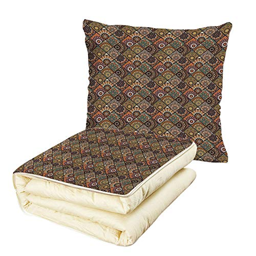 iPrint Quilt Dual-Use Pillow Moroccan Ethnic Mexican Ornaments with Abstract Artistic Old Fashioned Mandala Checkered Decorative Multifunctional Air-Conditioning Quilt Multicolor by iPrint
