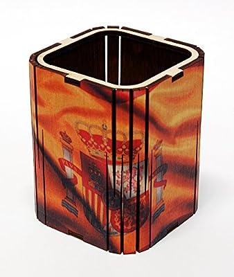 Forma cuadrada hecha a mano titular de la pluma lápiz oficina organizador de escritorio/abedul natural, diseño de bandera de España: Amazon.es: Oficina y papelería