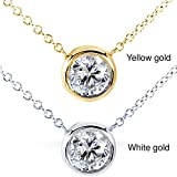 "Round Bezel Moissanite Solitaire Necklace 14K Gold 16"" Chain (6.5mm 1ct DEW), FG/VS"
