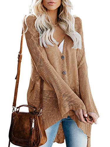 Ybenlow Womens Boho Knit Cardigans Loose Lightweight V Neck Button Down Sweater Sheer Henley Tops (X-Large, Khaki)
