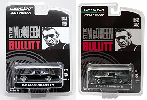 Steve Mcqueen Set Hollywood Movie Series 2 Car Set - Greenlight 1968 Dodge Charger & Bullitt's 1968 Ford Mustang Gt by Greenlight ()