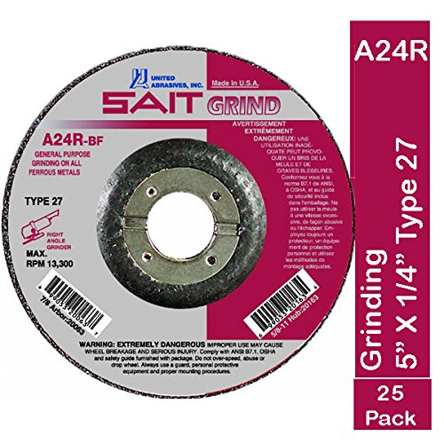 United Abrasives-SAIT 20073 Type 27 5-Inch x 1/4-Inch x 7/8-Inch, Grade A24R Long Life Depressed Center Grinding Wheels, 25-Pack by United Abrasives- SAIT (Image #1)