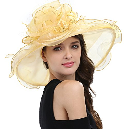 Janey&Rubbins Women's Feathers Floral Fascinating Kentucky Church Wedding Party Floppy Hat (Yellow) ()