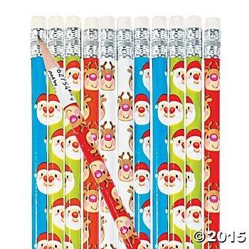 24 Wooden Reindeer and Santa Pencils ()
