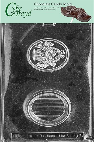 Cybrtrayd Life of the Party F052 Oval Pour Box with Bouquet Basket Chocolate Candy Mold in Sealed Protective Poly Bag Imprinted with Copyrighted Cybrtrayd Molding Instructions