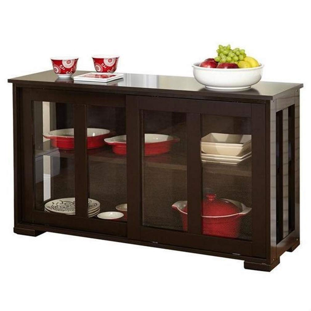 Espresso Sideboard Buffet Cabinet with 2 Glass Sliding Doors by Mdrn Indoors