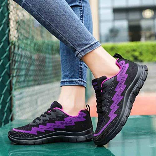 Plein Tissage Appartements Mode Purple Air Femmes Baskets Zahuihuim Chaussures Volant De Casual En Sport Respirant Chaussure Marche q1zRXXdw